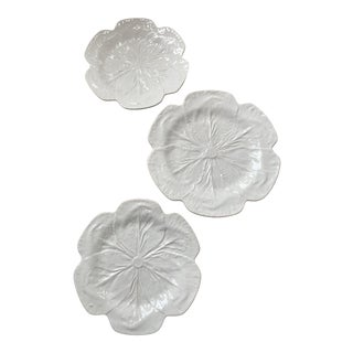 1980s Vintage Bordallo Pinheiro, White Majolica Cabbage Plates - Set of 3 For Sale