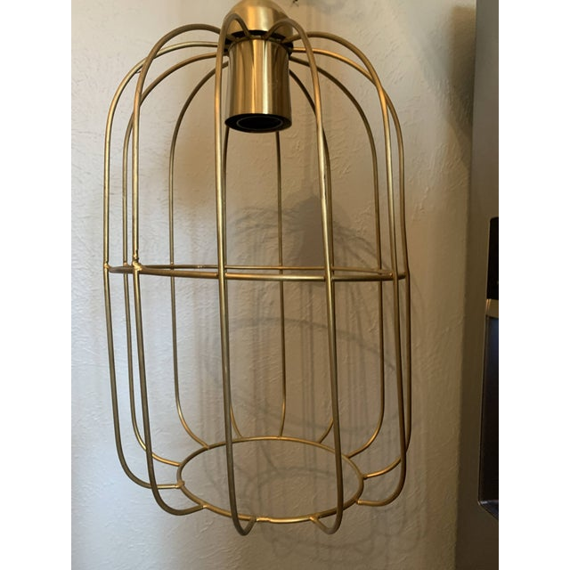 Brass Caged Dome Pendant Lights by Kalalou For Sale - Image 4 of 13