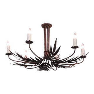 Mid-20th Century Spanish Barcelona Tole Palm Chandelier with Star Bobeche