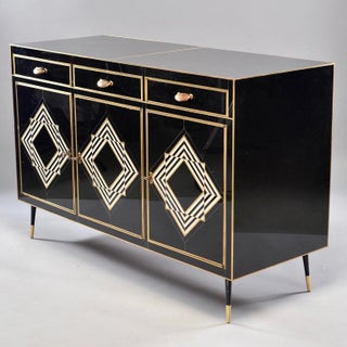 Op Art Murano Black and White Glass Clad Cabinet or Sideboard With Brass Hardware Preview