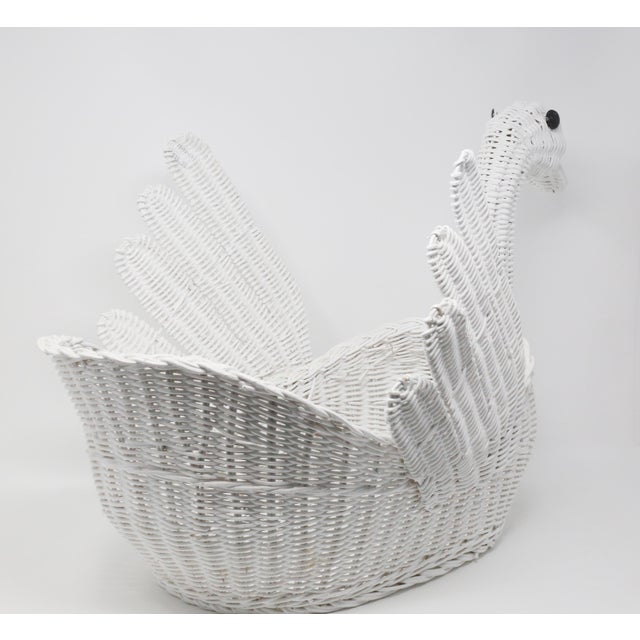 1980s Vintage Large White Wicker Swan Basket For Sale - Image 5 of 11