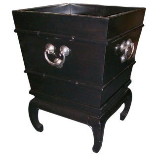 Ebonized Asian Style Planter with Nickel Hardware & Details For Sale