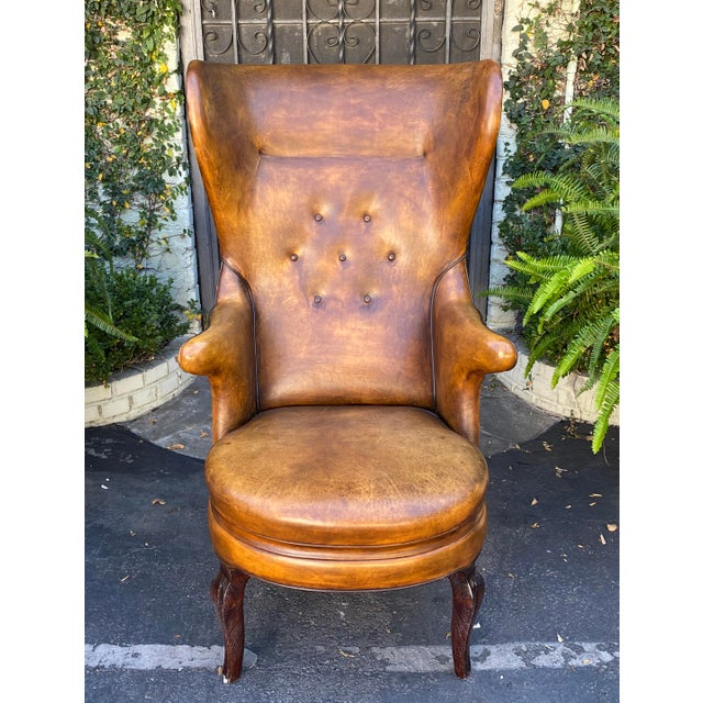 Rose Tarlow Melrose House Leather Wingback Chair. Beautiful, worn leather.