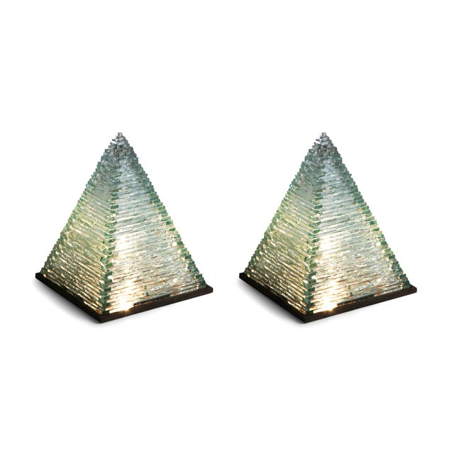 Brutalist Pyramid Glass Lamps by Pia Manu For Sale - Image 3 of 10