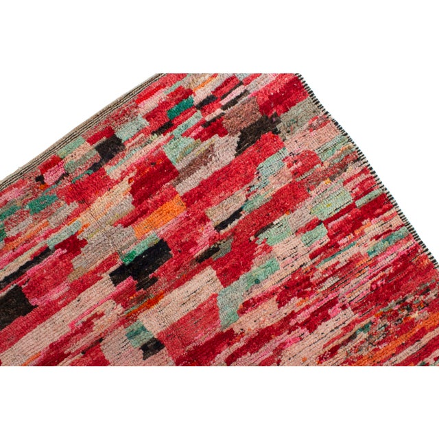 Abstract Moroccan Berber Wool Rug-5'4'x8'3' For Sale - Image 3 of 5