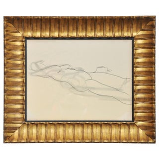 Vintage Mid-Century Framed Nude Line Drawing For Sale
