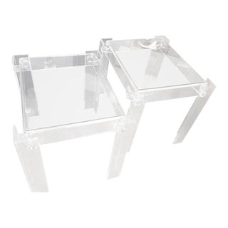 Vintage Lucite Glass Top End Side Tables - a Pair