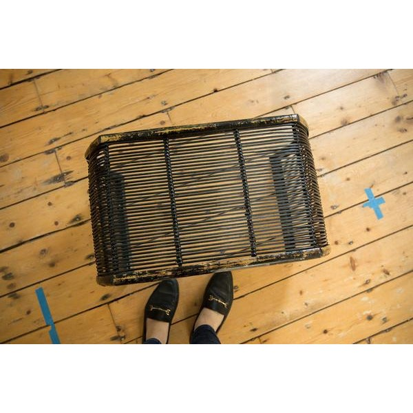 Old New House Vintage Black Rattan Foot Stool For Sale - Image 4 of 7