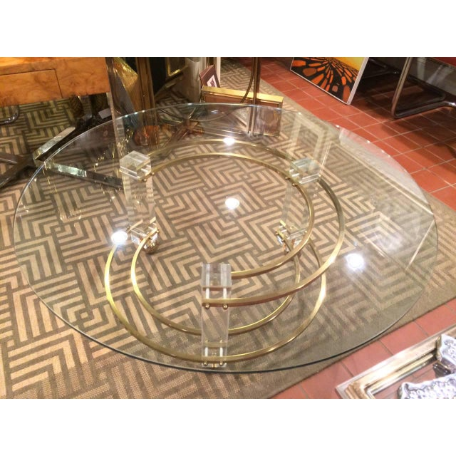 Charles Hollis Jones Hollywood Regency Lucite & Brass Coffee Table For Sale - Image 4 of 10