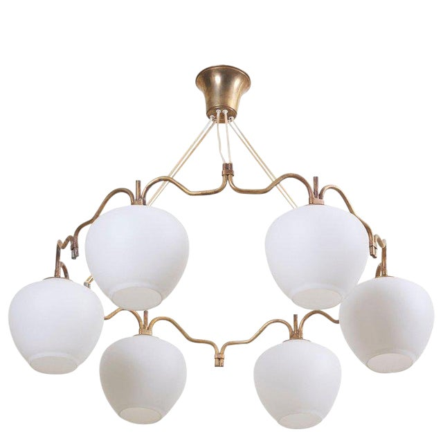 Six Shade Chandelier by Bent Karlby for Lyfa, Denmark, 1950s For Sale