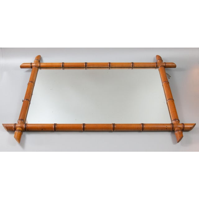 Chinoiserie Antique French Faux Bamboo Carved Mirror For Sale - Image 3 of 8