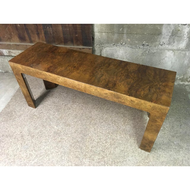 Wood 1970s Burlwood Console Table For Sale - Image 7 of 11
