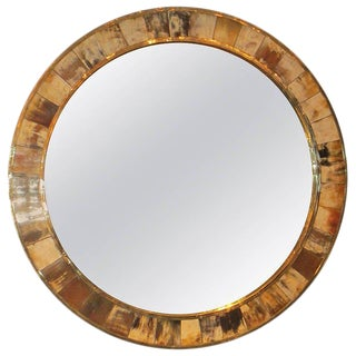 Circular Mid-Century Style Horn Mirror For Sale