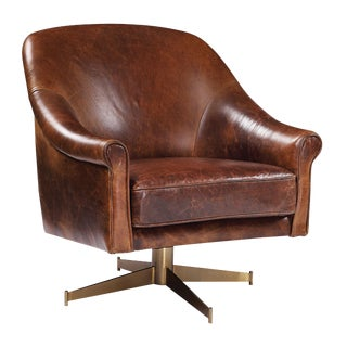 Modern Leather Swivel Club Chair For Sale