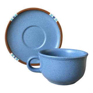 Dansk Mesa Blue Mug and Saucer from Stoneware Mug Line - 2 Pieces For Sale