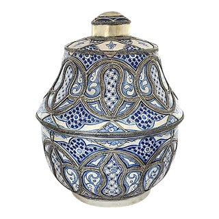 1920s Moroccan Blue & White Oversize Urn