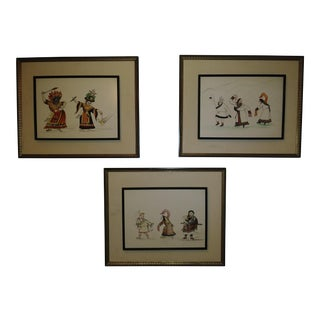 "1950s ""Cultural Dance"" Watercolor Paintings - Set of 3 For Sale"