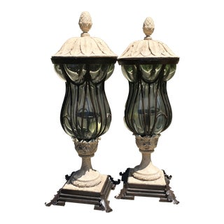 Hurricane Tabletop Lantern Candle Holders - A Pair For Sale