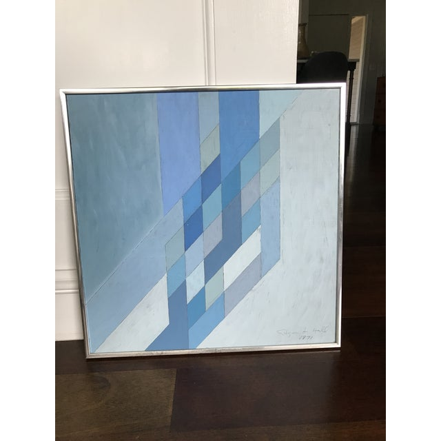 1970s Vintage Abstract Blue Geometric Painting For Sale - Image 9 of 10