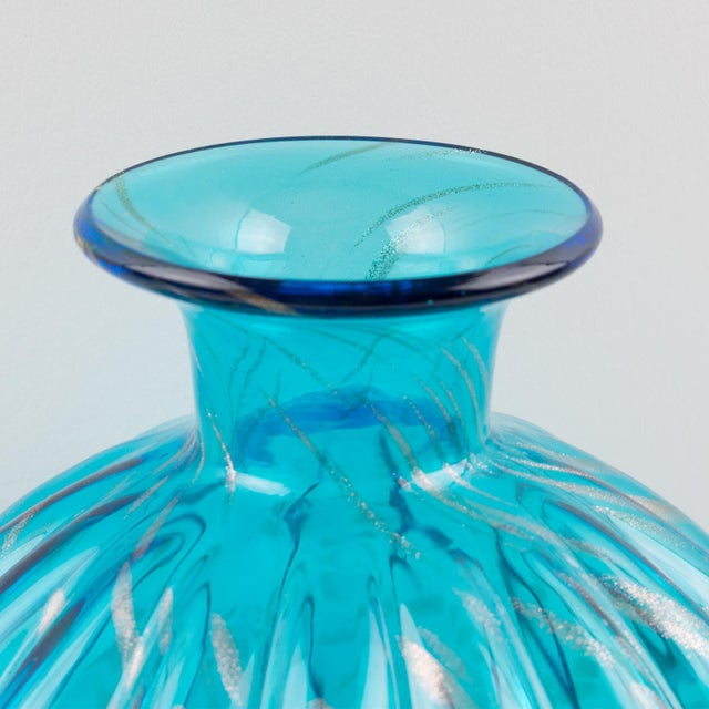 Glass Italian Empoli Hand Blown Turquoise Glass Lidded Apothecary Jar Dispenser For Sale - Image 7 of 13