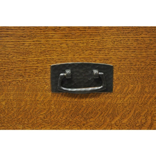 Mid 20th Century L&j G Stickley Arts & Crafts Mission Oak Wood Two Drawer Office File Cabinet For Sale - Image 5 of 13