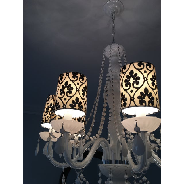 Black winter white fabric chandelier shades set of 5 chairish black winter white fabric chandelier shades set of 5 image 3 aloadofball Gallery