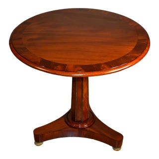 19th Century Antique Empire Banded Mahogany Round Side Table For Sale