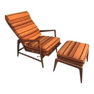 Mid Century Modern Recliner Chair & Ottoman by Lb Kofod-Larsen For Sale