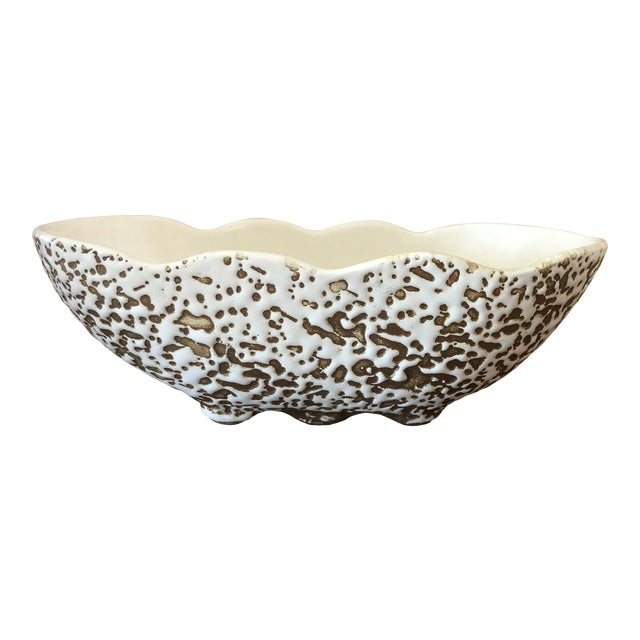 Mid-Century Modern White and Gold Spatter-Painted Planter For Sale