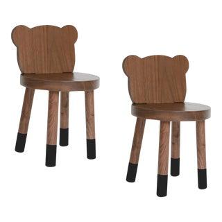 Nico & Yeye Baba Kids Chair Solid Walnut Black - Set of 2 For Sale