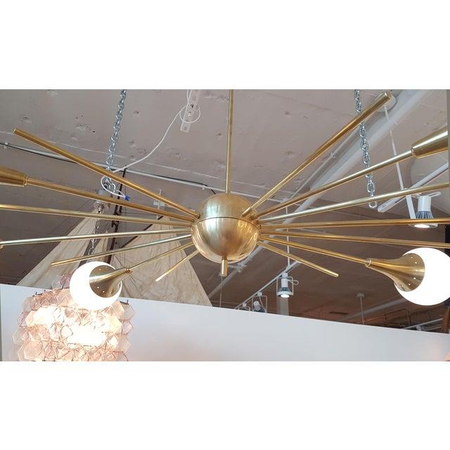 Stilnovo Mid-Century Modern Italian Stilnovo Style Brass & White Glass Sputnik Chandelier 1960s For Sale - Image 4 of 12
