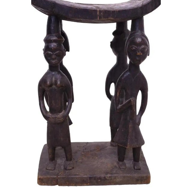Early 20th Century Vintage African Figural Carved Wood Ashanti Tribal Stool For Sale - Image 4 of 13