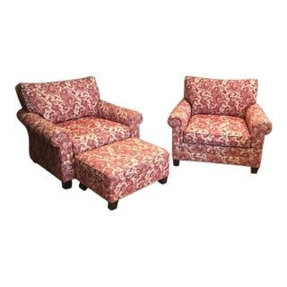 Custom Club Chairs With Ottoman - Set of 3