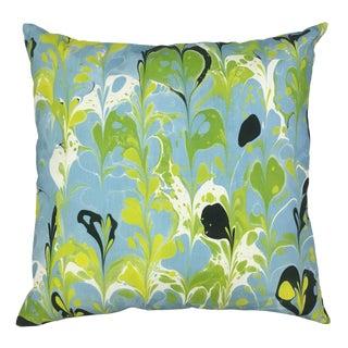 "Abstract Spruzzi Aqua Linen Pillow Cover - 22"""