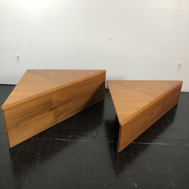 Brown Danish Laurits M Larsen Teak Triangle Coffee Tables - a Pair For Sale - Image 8 of 13