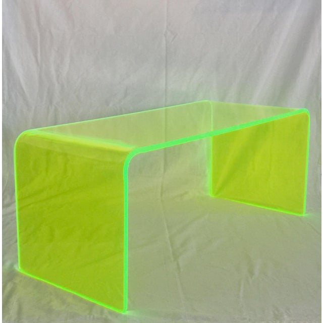 "Mid-Century Modern ""The Long Game"" Coffee Table in Neon Green For Sale - Image 3 of 11"