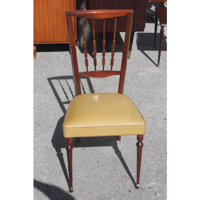 Set of Six French Art Deco Solid Mahogany Dining Chairs, circa 1940s - Image 2 of 9
