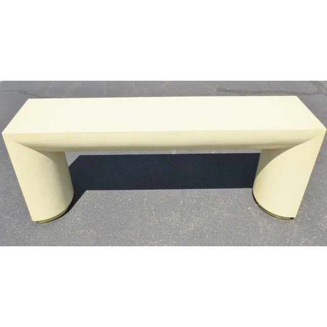 Mid 20th Century Mid Century Modern Cream Lacquered Canvas and Brass Console Table For Sale - Image 5 of 6