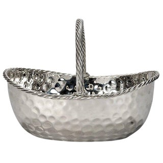 Mid-Century Hammered Silver Plate Basket For Sale