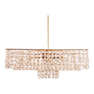 Midcentury Square Cut Crystal Chandelier For Sale