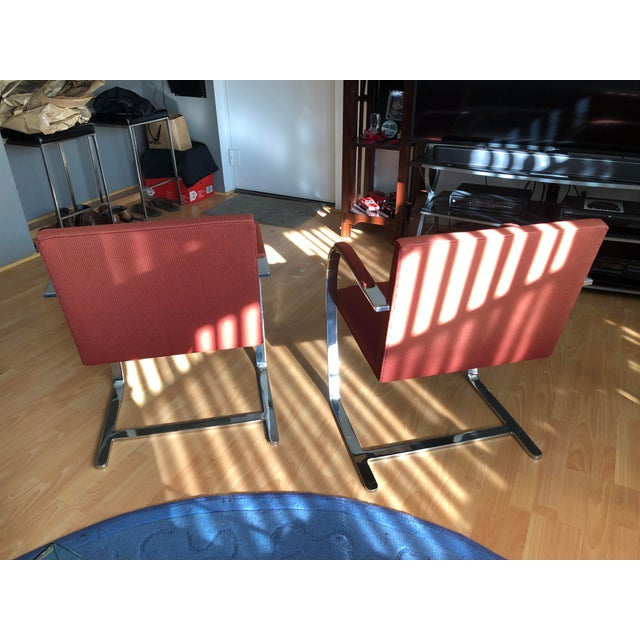 Ludwig Mies van der Rohe 1970s Vintage Knoll Brno Flat Bar Chairs- A Pair For Sale - Image 4 of 13