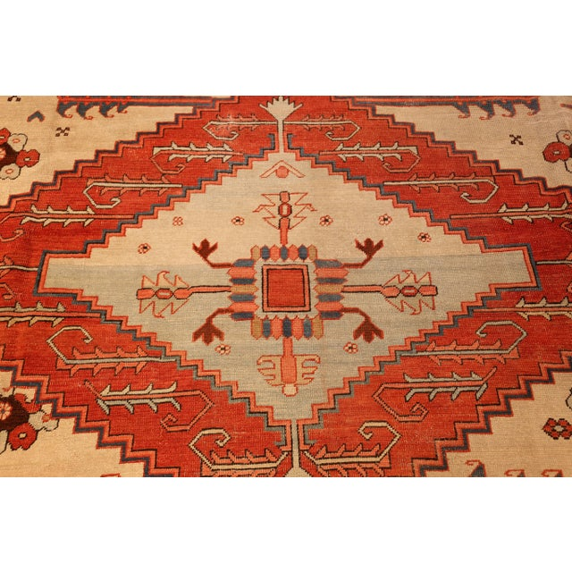 Late 19th Century Antique Serapi Persian Ivory Rug - 11′ × 12′6″ For Sale - Image 5 of 10