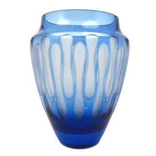 Mid-Century Modern Etched Royal Blue Glass Vase For Sale