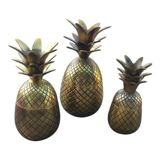 Brass Pineapple Taper Holders - Set of 3 For Sale