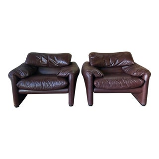 "1970s Vintage Vico Magistretti ""Maralunga"" Chairs for Cassina-a Pair For Sale"