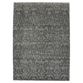 Modern Dark Gray Transitional Ikat Rug, 9'11x13'8
