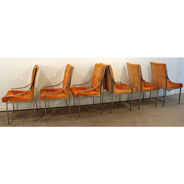 Danish Modern Milo Baughman Dillingham Mid-Century Danish Modern Chrome Dining Chairs - Set of 6 For Sale - Image 3 of 11
