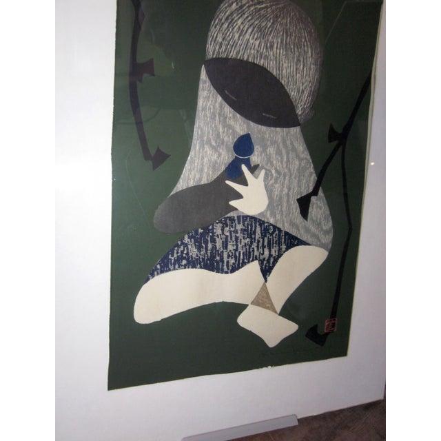 "1950s Vintage Kaoru Kawano ""Conversation"" Signed Japanese Woodblock Print For Sale - Image 4 of 7"