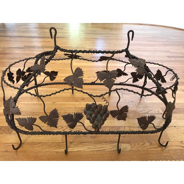 French 1970s Custom Crafted Enchanting Wrought Iron Grape Vine Pot Rack For Sale - Image 3 of 13