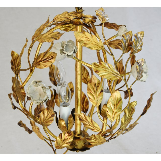 Boho Chic Vintage Three-Arm/Light Italian Gold Gilt Ball Tole Chandelier For Sale - Image 3 of 11